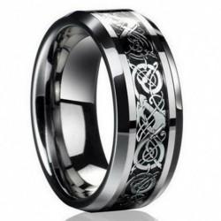 11. méret - Divat ezüst kelta sárkány titán rozsdamentes acél férfi esküvői zenekar gyűrűk