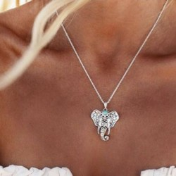 Nincs szín - Vintage női türkiz ezüst elefánt varázsa medál fojtó nyaklánc ékszerek