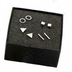 Ezüst - 4 pár apró Circle T rúd fülbevaló geometriai háromszög fülbevaló új