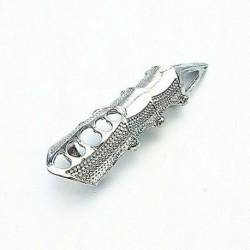 Ezüst - Gótikus punk gyűrűk Rock Scroll ízületi páncél csülök fém teljes ujj karom gyűrűk