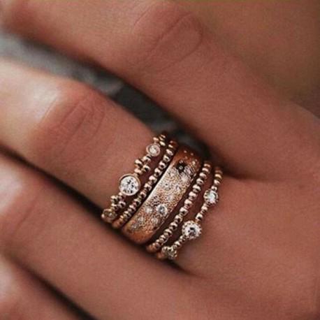 7 * - 5db / készlet Crystal Rose Gold halmozott gyűrű 5 szikrázó gyűrű Boho ékszer