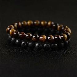 * 48 2db / készlet - Férfi természetes lávakő drágakő gyöngy karkötő Buddha fej varázsa gyöngyös karkötő