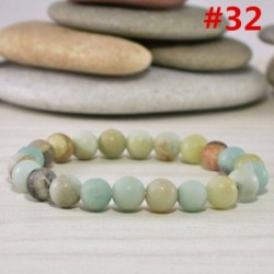 * 32 Amazonit gyöngy (8MM) - Férfi természetes lávakő drágakő gyöngy karkötő Buddha fej varázsa gyöngyös karkötő