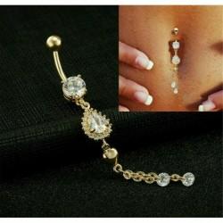* 3 Arany - Ragyogjon köldök hasi gomb gyűrűk bár kristályvirág dangle test Piercing ékszerek