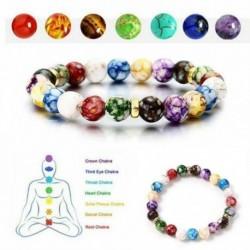 Nincs szín - 7 csakra drágakő karkötő lávakő kristály Reiki gyógyító kiegyensúlyozó természetes CA