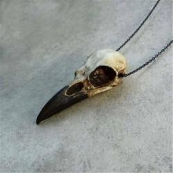 Nincs szín - 3D Raven koponya nyaklánc gyanta másolat Raven Crow gótikus ajándék goth koponya ékszerek