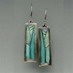 * 102 (4X1CM) - 925 ezüst dangle csepp fülbevaló fülhorog holdkő női divat ékszer ajándék
