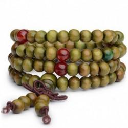 * 1 Zöld - 6mm 108 gyöngy természetes szantálfa buddhista Buddha fa ima Mala karkötő ajándék