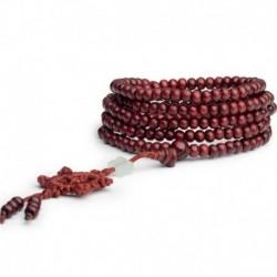 * 4 Piros - 6mm 108 gyöngy természetes szantálfa buddhista Buddha fa ima Mala karkötő ajándék