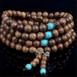 * 3 Barna - 6mm 108 gyöngy természetes szantálfa buddhista Buddha fa ima Mala karkötő ajándék