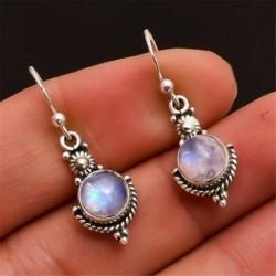 Nincs szín - Szivárvány holdkő drágakő ékszerek 925 ezüst dangle fülbevaló ajándék USA