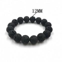 12mm - Férfi fekete természetes láva kő szikla vulkanikus kerek gyöngy rugalmas rugalmas karkötők