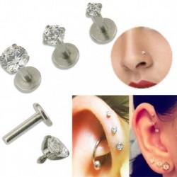 2mm - 16G drágakő kerek Tragus ajak gyűrű Monroe fülcsap fülbevaló test porc piercing