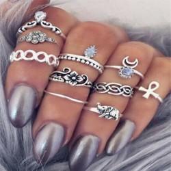 10db hippi kő gyűrű szett ... - 15db Boho verem sima felett csülök gyűrű Midi ujjhegy gyűrűk készlet ezüst / arany