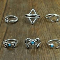 16 * 6PCS - Boho női halom sima felett csülök gyűrű Midi ujjhegy gyűrűk készlet ékszer ajándék