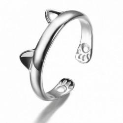 Nincs szín - Női divat ezüst aranyos macska cica füle állat design gyűrű állítható ajándék új