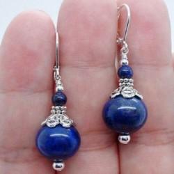 Nincs szín - Gyönyörű kézzel készített merész kék Lapis Lazuli 925 ezüst fülbevaló 6-12mm 1 pár