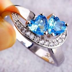 7 * - Divat női szív kék fehér drágakő ezüst gyűrű divat ékszer Sz 6 7 8 9