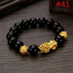 * 41 - Férfi természetes drágakő gyöngy karkötő Buddha fej varázsa gyöngyös karkötő ékszerek