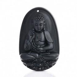 Buddha - Férfi nők fekete természetes Obszidián faragott Buddha medál nyaklánc kötél ékszerek