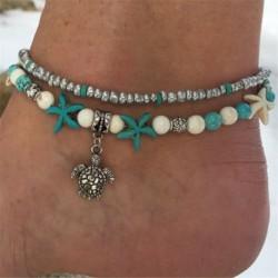 Nincs szín - 1db Boho Starfish türkiz gyöngyök teknős boka tengerparti szandál boka karkötő