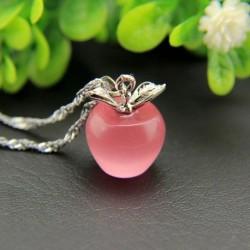 Rózsaszín - Női 925 ezüstözött almás medál nyaklánc fojtó lánc divat ékszerek új
