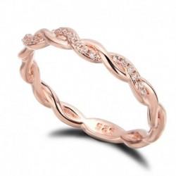6 * - Divat női 18K rózsaarany töltött fehér zafír esküvői ékszer gyűrű ajándékok új