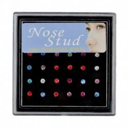 24db Többszínű - Női divat strasszos kristály orr gyűrű csont csap testékszer ékszer ajándék