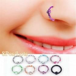 8db / készlet - Női divat strasszos kristály orr gyűrű csont csípő test piercing ékszer ajándék