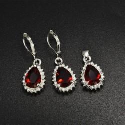 Rubin csepp függő   fülbevaló - Női 925 ezüst drágakő topáz nyaklánc medál gyűrűk fülbevalók ékszer szettek