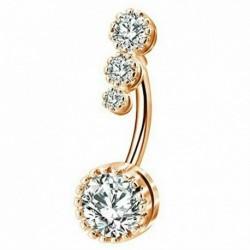 * 2 Arany - CZ súlyzó hasi gomb köldökgyűrű női kristályvirág testpiercing ékszerek