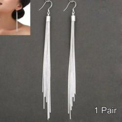 Nincs szín - Luxus női 925 ezüst hosszú fülbevaló bojt bojt fülbevalók AU