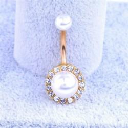 Arany - Strassz gyöngyös köldök csüngő gombos hasi gyűrűs bár testpiercing ékszerek retro