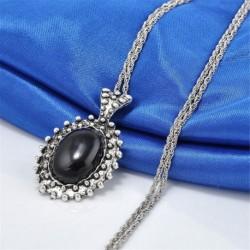 4 * ezüst   fekete - Női divat kristály medál hosszú bojt lánc pulóver nyaklánc ékszer ajándék