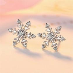 * 3 fülbevaló (1cm) - Ezüst karácsonyi hópehely strasszos kristály nyaklánc Stud fülbevaló ékszer szett