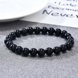 Nincs szín - Természetes 8 mm-es gyönyörű fekete Onyx gyógyító kristály nyújtható gyöngy karkötő Unisex