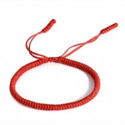 Piros - Vintage férfiak női tibeti buddhista kézzel készített csomók szerencsés kötél karkötő állítható