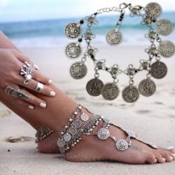 15 * - Divat női boka ezüst arany varázsa boka lánc karkötő láb szandál ékszerek
