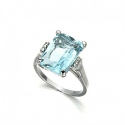 9. - Hatalmas 925 ezüst női ékszer akvamarin drágakő esküvői menyasszonyi gyűrű mérete5-11