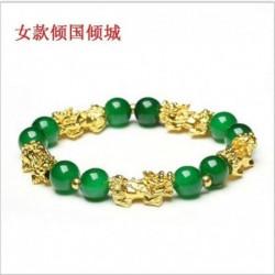 * 3 - Feng Shui fekete obszidián ötvözet vagyon karkötő arany Pixiu szerencsés ékszer ajándékkal