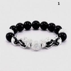 * 1 - Feng Shui fekete obszidián gyöngy ezüst Pi Xiu vagyon karkötő Szerencsés ékszer USA