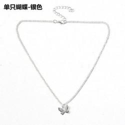 1-pillangó / ezüst - Divat női arany ezüst pillangó medál nyaklánc choker lánc ékszerek USA