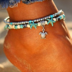 * 2 - Boho bokaváz karkötő Strand teknős gyöngy tengeri csillag kristály gyöngy lánc karkötő