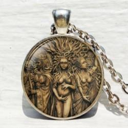 Hármas istennő medál - Vintage Punk Butterfly Dragon Cabochon üveg bronz lánc bagoly medál nyaklánc