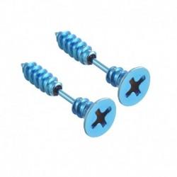 Kék - 2 db Unisex női férfi punk rozsdamentes acél csavaros fülbevaló fülbevaló ékszer új