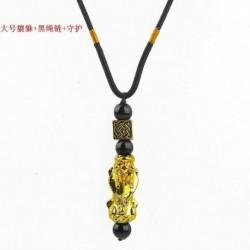 * 1 - Obsidianus Feng Shui arany Pixiu nyaklánc gazdagság jó szerencsés sárkány medál ékszerek