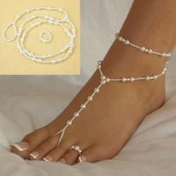 Nincs szín - Gyöngy boka láblánc mezítláb szandál lábujj gyűrű tengerparti boka karkötő ékszerek AU