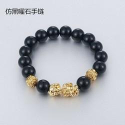 * 1 - Feng Shui fekete bevonatú obszidián ötvözet vagyon karkötő unisex karszalag arany CA
