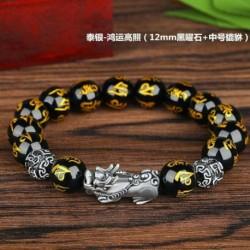 B - Feng Shui fekete obszidián gyöngy Pixiu karkötő arany vonzza a vagyont Sok szerencsét nekünk