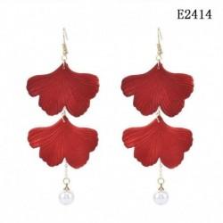 E2414 - Piros rózsa akril szirmai bojt fülbevalók női esküvői fül kiegészítők ajándékok